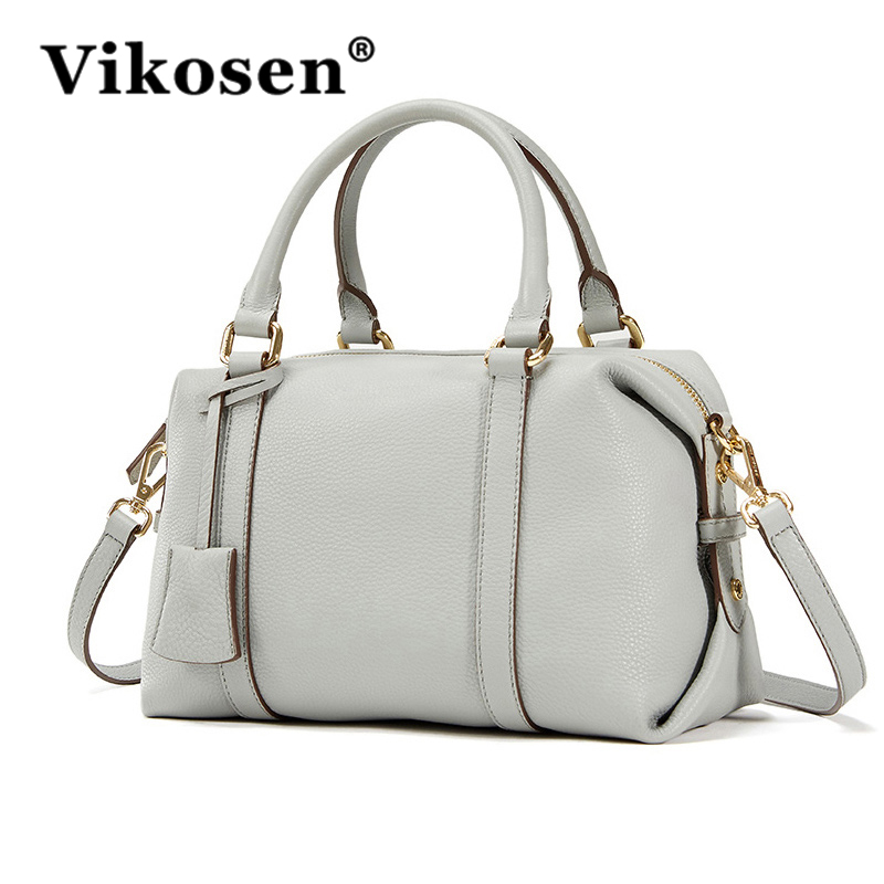 VIKOSEN 2017 New Shoulder Bag for Woman Genuine Leather Bag Lady Luxury handbags Grey Black Cross Body Bag VK15070575A