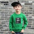 Pioneer niños camisetas de los niños niños del otoño del resorte tops carta patrón de las muchachas sudaderas abrigos bebé traje ropa de los niños