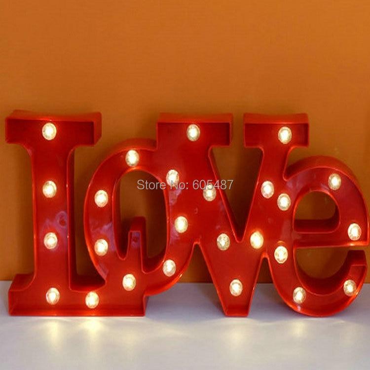 Новый стиль Пластик знак любви свет письмо главе знаковое событие любовь свет Крытый стены отменять Свет Вход Бесплатная доставка