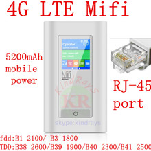 Разблокирована 4 г беспроводной карманный маршрутизатор с портом rj45 usb 5200 мАч Power Bank Wi-Fi Маршрутизатор Беспроводной мифи hotsport Ключ pk e5372 e579