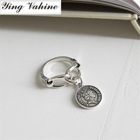 ying Vahine 925 Sterling Silver Vintage Chain Coin with Figure Elizabeth Rings for Women anillos plata 925 para mujer