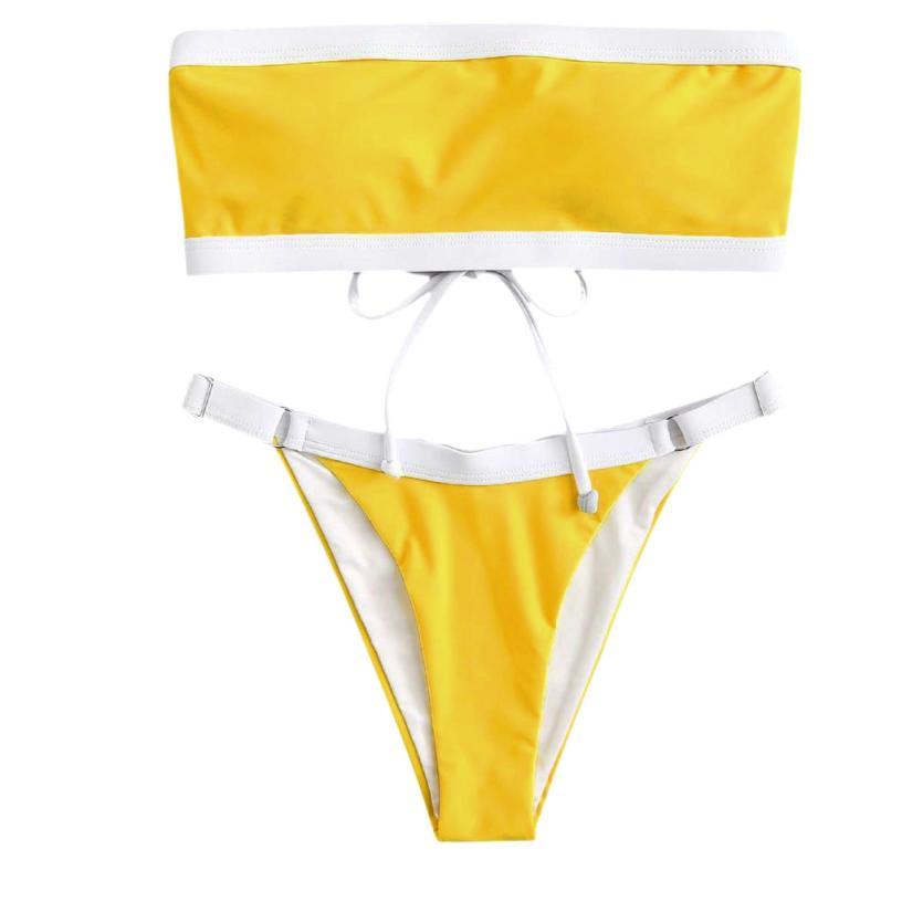 Women Solid Bikini Swimsuit Bikini Beachwear Swimwear Bathingsuit swimming suit for women 2018 zaful swimwear biquinis feminino