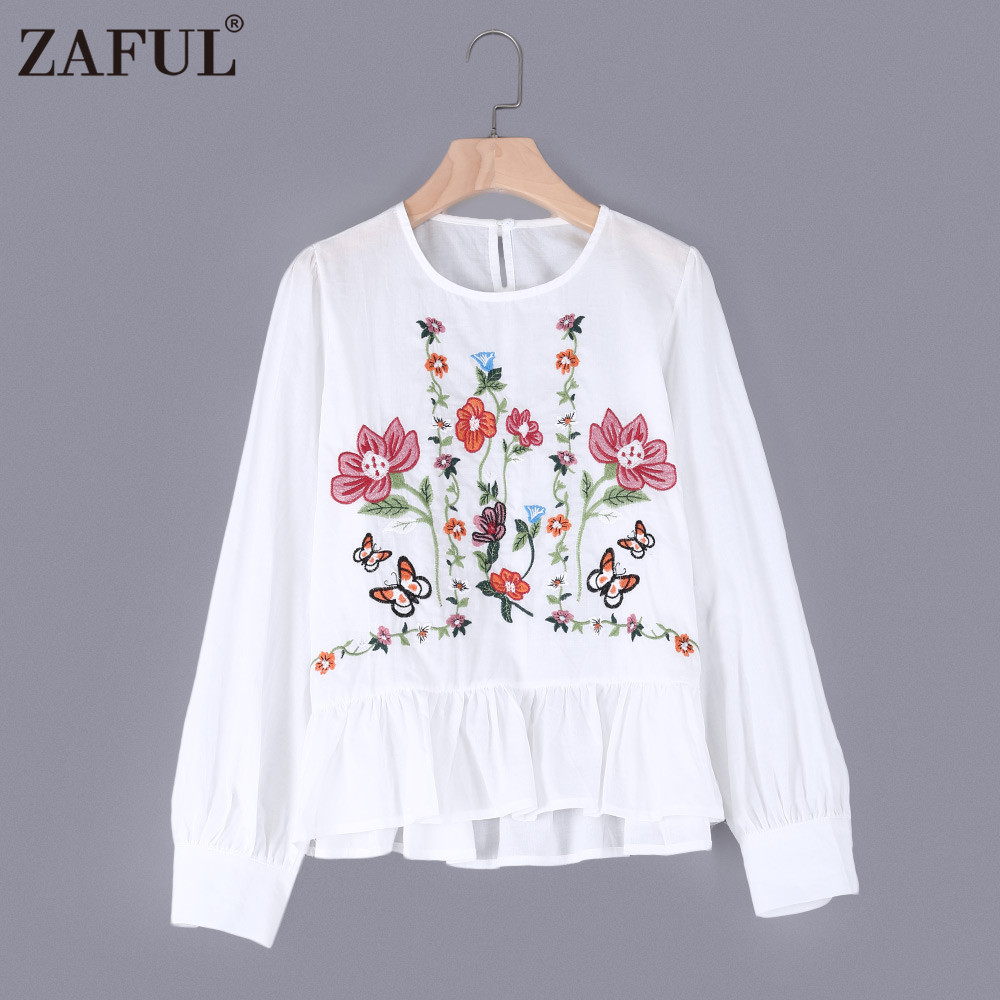 ZAFUL Embroidery Women Blouse 2017 Round Collar Ruffled