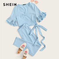 SHEIN Blue Surplice Wrap Layered Ruffle Sleeve Knotted Crop Top and Pants Set 2 Piece Set Women Autumn Abaya Sexy Two Piece Set