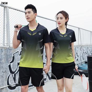 ZMSM kobiety mężczyźni szybkie suche badmintona Wear dekolt w szpic zestaw do tenisa stołowego jednolite szkolenia tenis koszule szorty i spódnice dresy y122 tanie i dobre opinie Poliester Krótki Oddychające Suknem A122 B122 Pasuje prawda na wymiar weź swój normalny rozmiar V-neck Men Women