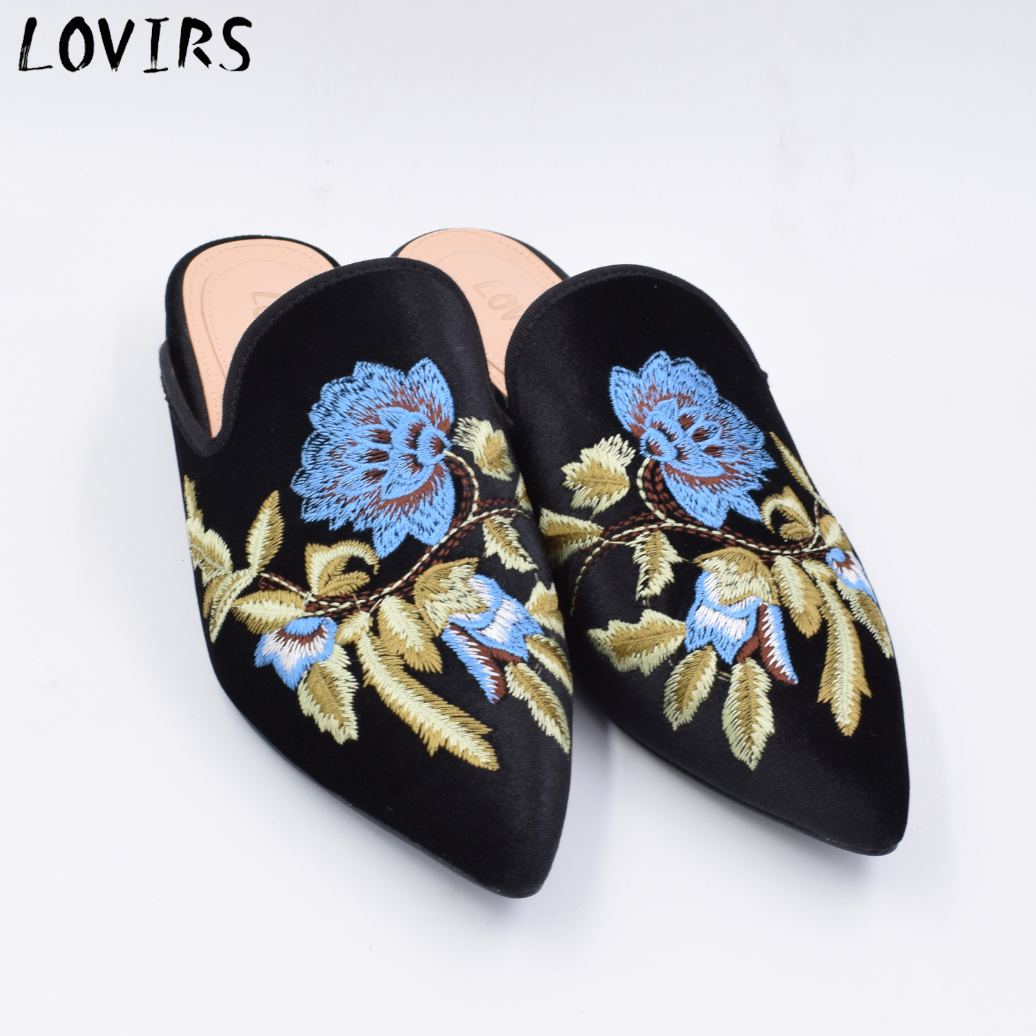 Womens New Mules Shoes Bee Embroidery Slippers fashion Leather Loafers backless