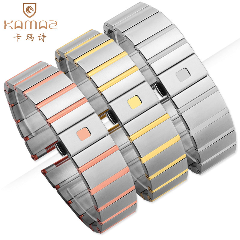 Stainless steel with solid steel strap, 18mm 23mm 25mm Men and Women with Double Eagle Series quality assurance steel strap quality solid stainless steel watchband 18mm 23mm 25mm grace rose gold watch bracelet for constellation double eagle strap