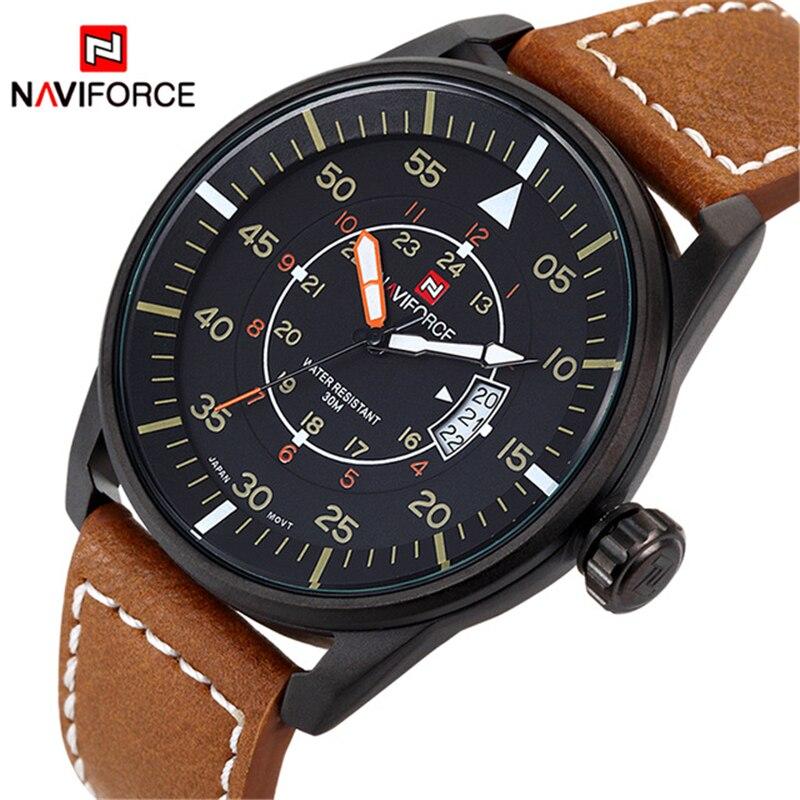 Relogio Masculino Fashion Watch NAVIFORCE Quartz Watch Sport Military Watches Men Luxury Brand Leather Strap Men