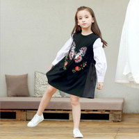 2018 Big Girls Dresses Flowers Butterfly Embroidery Design Applique Black White Girls School Dress Kids Clothes