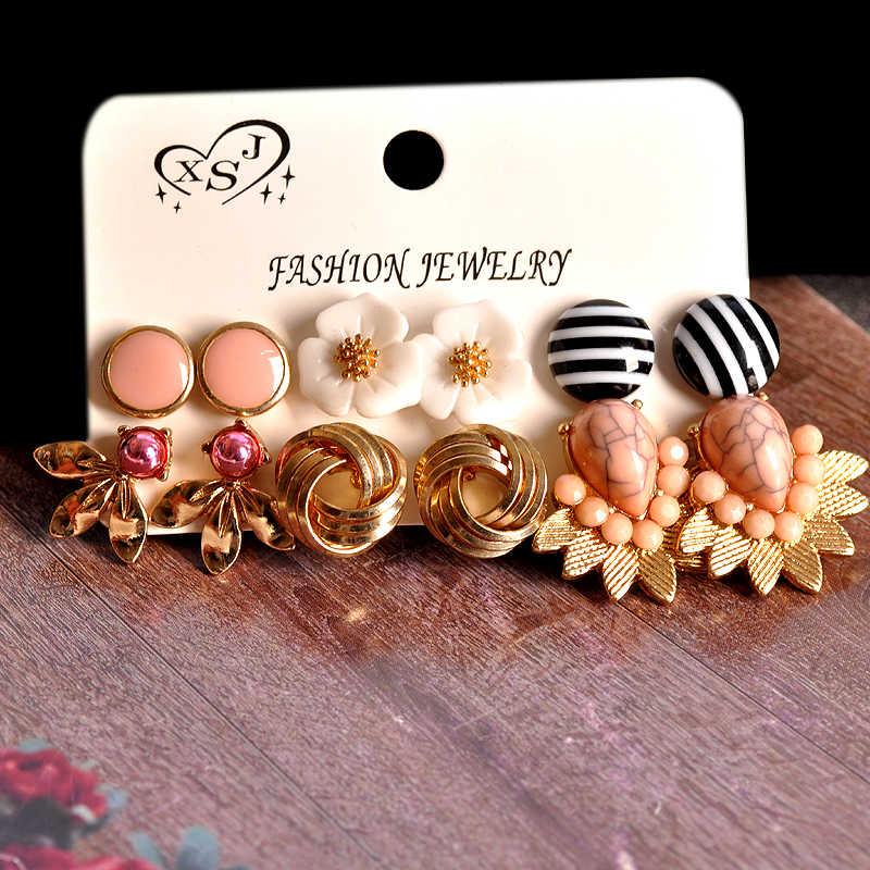 Mới thời trang nữ trang sức Sỉ bé gái Đảng Bông tai vàng bông hoa màu hồng hình hỗn hợp 6 cái/bộ Bông tai Vận chuyển miễn phí