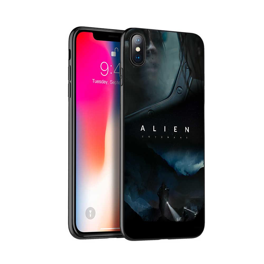 กรณี tpu สีดำสำหรับ iphone 5 5s se 6 6s 7 8 plus x 10 กรณีซิลิโคนสำหรับ iphone XR XS MAX กรณีคนต่างด้าว covenant Resurrection