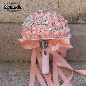 Image 1 - Kyunovia Vintage Brooch Bouquet Lace Handle Bridal Bouquets Wedding Accessories Brooches Bouquet Crystals Wedding Bouquet FE71