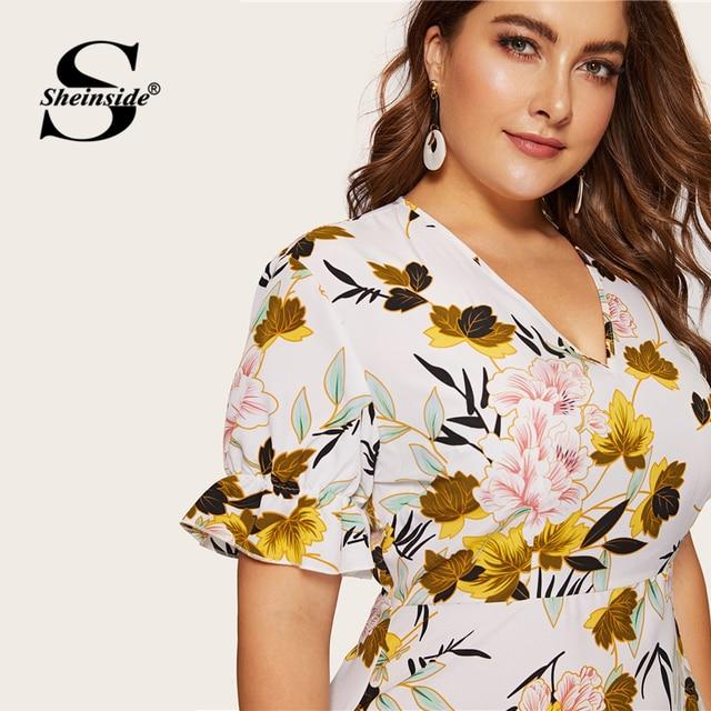 Sheinside Plus Size Boho Floral Print V Neck Dress Women 2019 Summer Flounce Sleeve A Line Dresses Ladies Elegant Maxi Dress 4