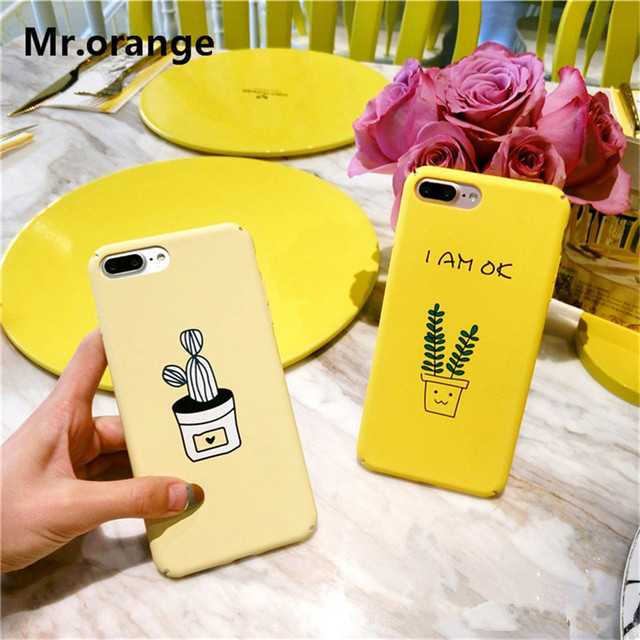 low priced 24e06 e4aba US $3.88 |Mr.orange 2017 NEW Yellow Cartoon Cute Cactus Phone Case For  iphone 6 6s 7 Plus Cute Phone Case PC Hard Plastic Coque Back Cover-in  Fitted ...