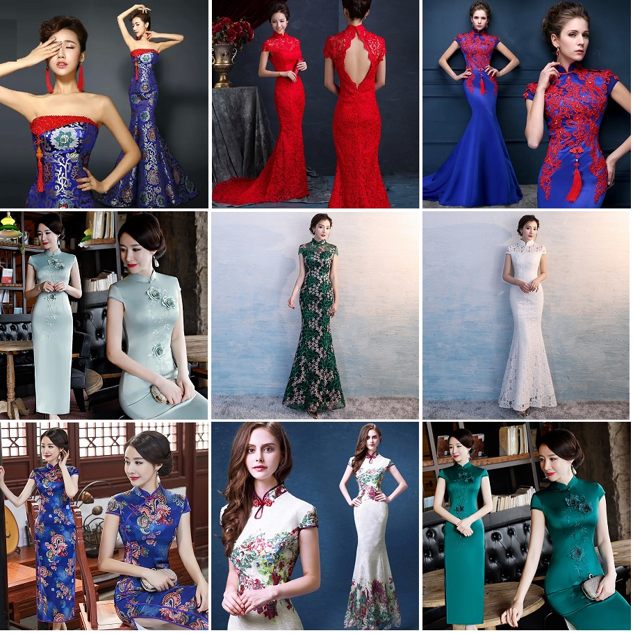 Women s Royal Blue Trailing Strapless Qipao Evening Dresses Chinese Traditional Brocade Long Mermaid Backless Plus