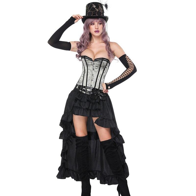 3 pièces Vintage Korsett pour les femmes Sexy Burlesque robe Steampunk Corset jupe ensemble victorien gothique vêtements robes