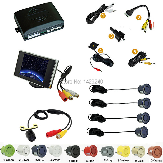 Car 4-sensor Rearview Parking Sensor Reversing System With 3.5inch Monitor and 16.5mm Camera Black Silver Blue Gray #CA2762