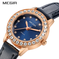 MEGIR Women Ladies Watch Girl Quartz Wristwatches Luxury Fashion Time Clock Woman Female Leather Band Watches Relogio Feminino