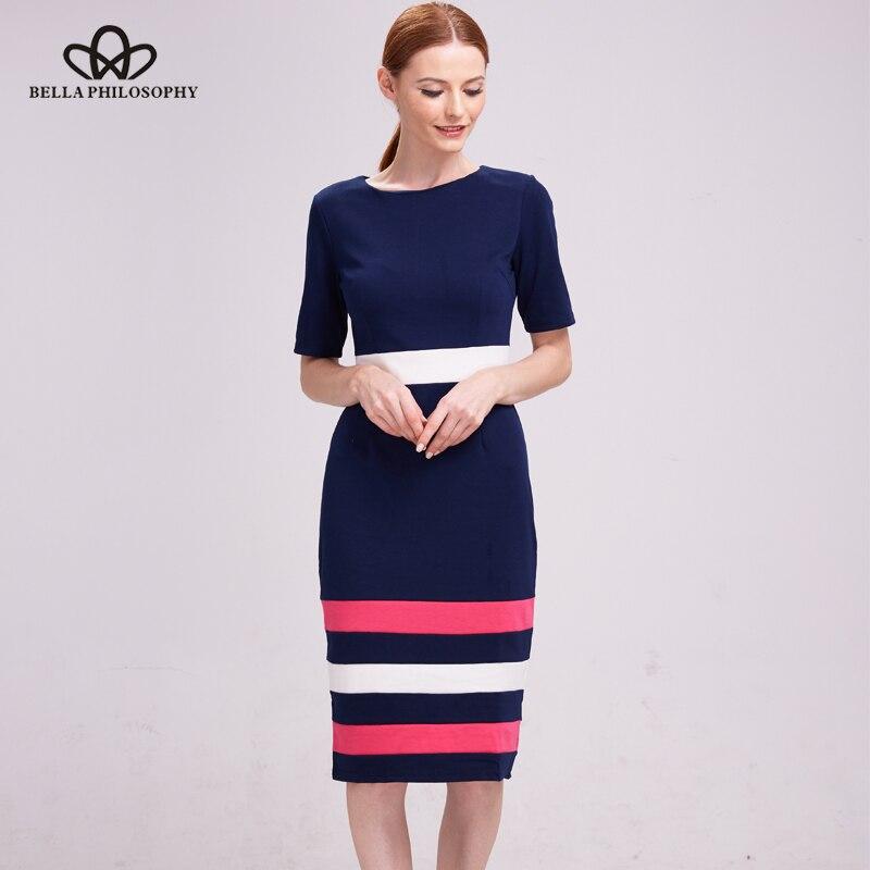 Bella Philosophy 2017 women dress autumn winter short sleeve Blends cotton bodycon pencil dress casual striped