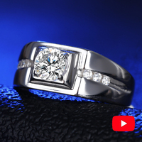 NOT FAKE Round Cut S925 Sterling Silver Ring unisex SONA Diamond solitaire Fine Ring Unique Style Love Wedding Engagement