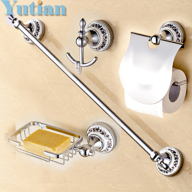 Free Shipping Stainless Steel Ceramic Bathroom Accessories Set Robe Hook Paper Holder Towel