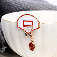 Cute Fashion Exquisite Basketball Ball Box Frame Pin Brooch Alloy Badge Gift Bag Sweater Accessories