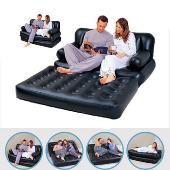 Foldable Inflatable Sofa Leather Folding Multifunctional Home Furniture Garden Sofa Bedroom Portable Camping Bed for 2 Person