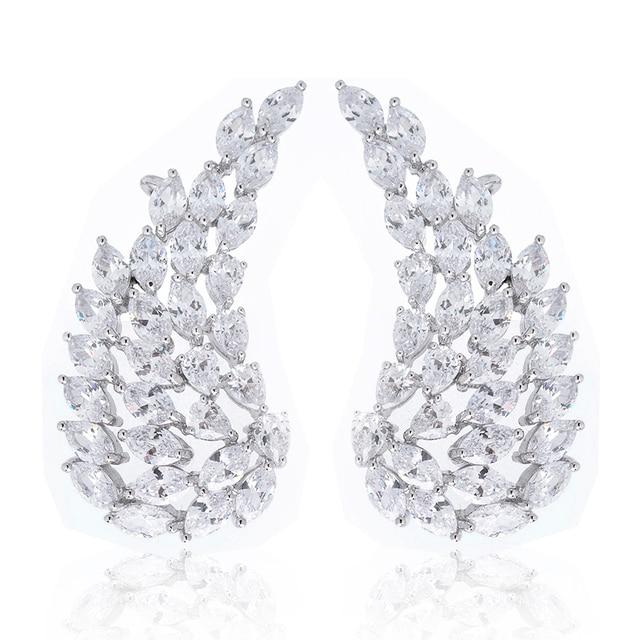 7a45e490c One Pair Silver Tone Ear Vines Cubic Zirconia Angel Wings Ear Wrap Cuff Stud  Crystal Ear