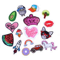 Prajna Anime Heart Patch Unicorn Rainbow Owl Patch Cartoon Iron On Patches Kids DIY Cute Sewing Embroidered Patches For Clothing
