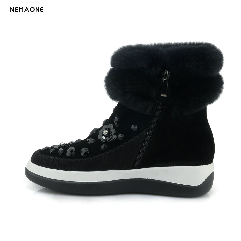NEMAONE women's fashion black cow leather snow boots with crystal decoration Shoes woman Free shipping black snow