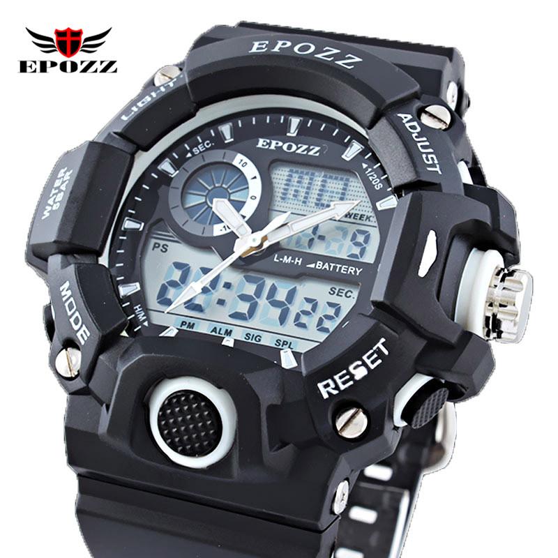 Prix pour EPOZZ G Style Hommes Sports Nautiques Plongée Montre LED Numérique Bracelet En Silicone Mâle 5Bar Étanche Horloge 2811