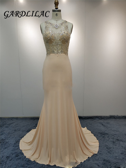 Illusion Beaded Champagne Long Evening Dresses Mermaid Prom Gown Vestido Longo Prom Dress 2018 Bridal Party Dress 069