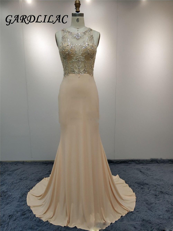 Illusion perlée Champagne longues robes de soirée sirène robe de bal Vestido Longo robe de bal 2018 robe de mariée de soirée 069