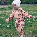 Весна осень ребенка комбинезон слон печати розовый цельный одежда с длинным рукавом в шляпе с капюшоном моды дети детская одежда