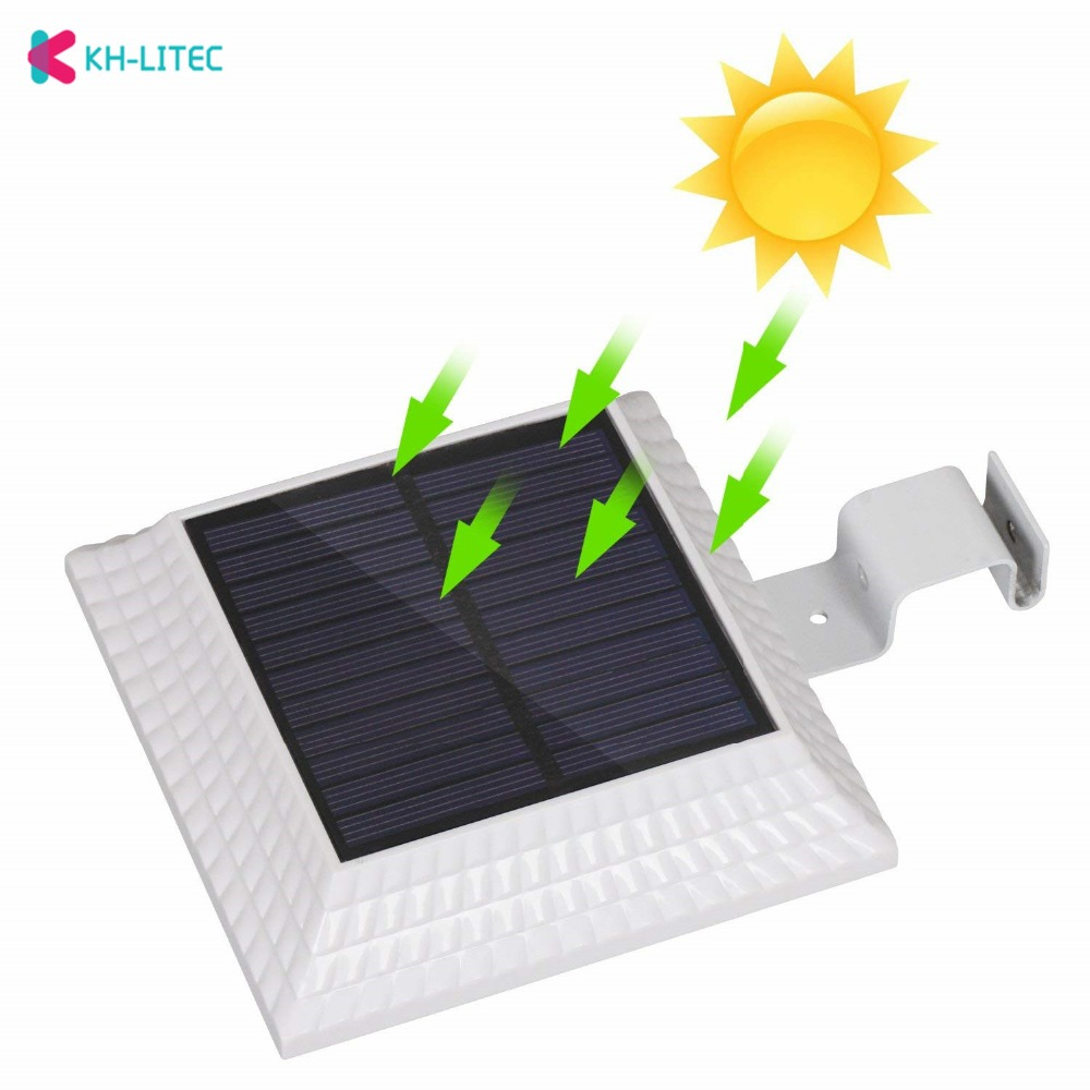 KHLITEC-Solar-Gutter- Lights-12-LED-Solar-Powered-Waterproof-Security-Lamp-6000K-White-for-Outdoor-Garden-Fence-Outside-Garage-Door