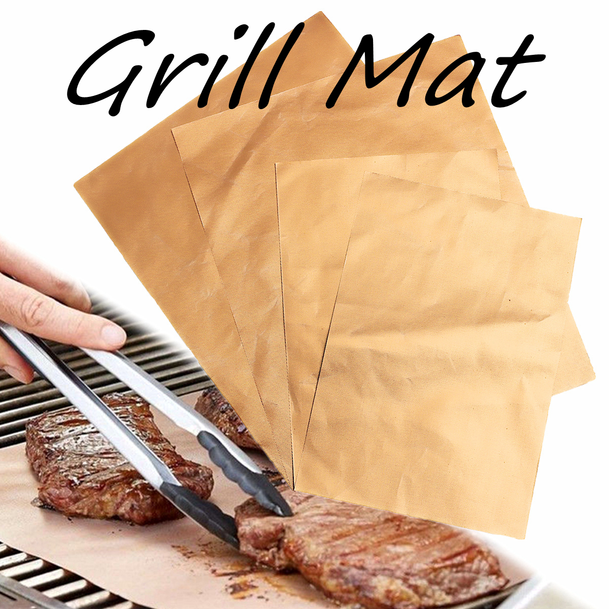 4x Reusable Thick PTFE Barbecue Grill Mat Copper Chef Non-stick BBQ Grill Mats Cooking & Baking Liner Barbecuing Grill Pad Sheet