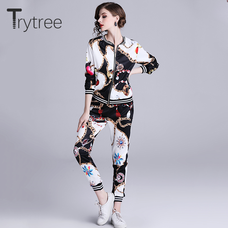 Trytree Autumn Silky Thin Women Print Two Piece Set Casual O-Neck Zipper Tops + Pants Elastic Waist Female Suit Set 2 Piece Set