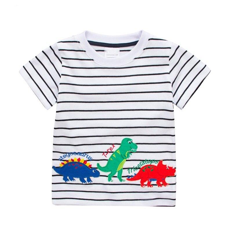 Dinosaurs baby boys short sleeves cartoon t shirts kids new designed summer t shirt hot selling baby boys striped clothing 1