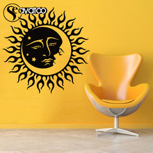 Sun Moon Stars Face Day Night Sunshine Vinyl Wall Sticker Decal Tribal Pattern Stickers 56x57cm
