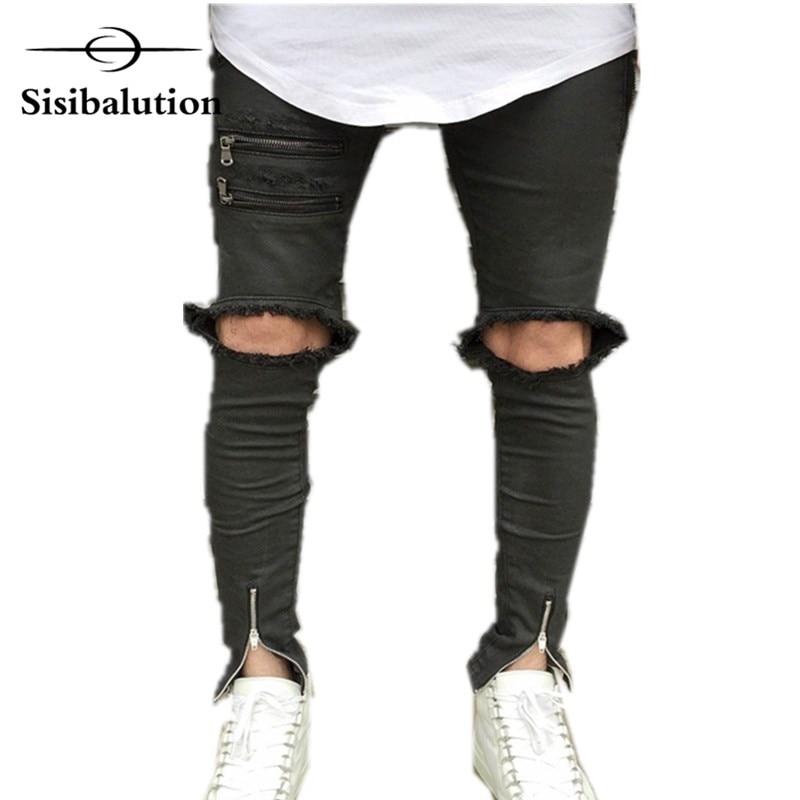 2018 новые ботильоны на молнии дизайн Привет-улица добычу мужские черные Рваные джинсы модные мужские Distressed Skinny destroyed Denim Мотобрюки