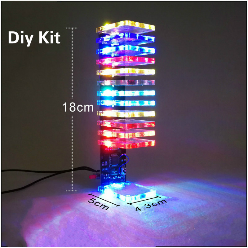 цена на Aiyima 13 Level LED Music Audio Spectrum Indicator Crystal Column DIY Kit VU Tower Audio Level Meter Kits