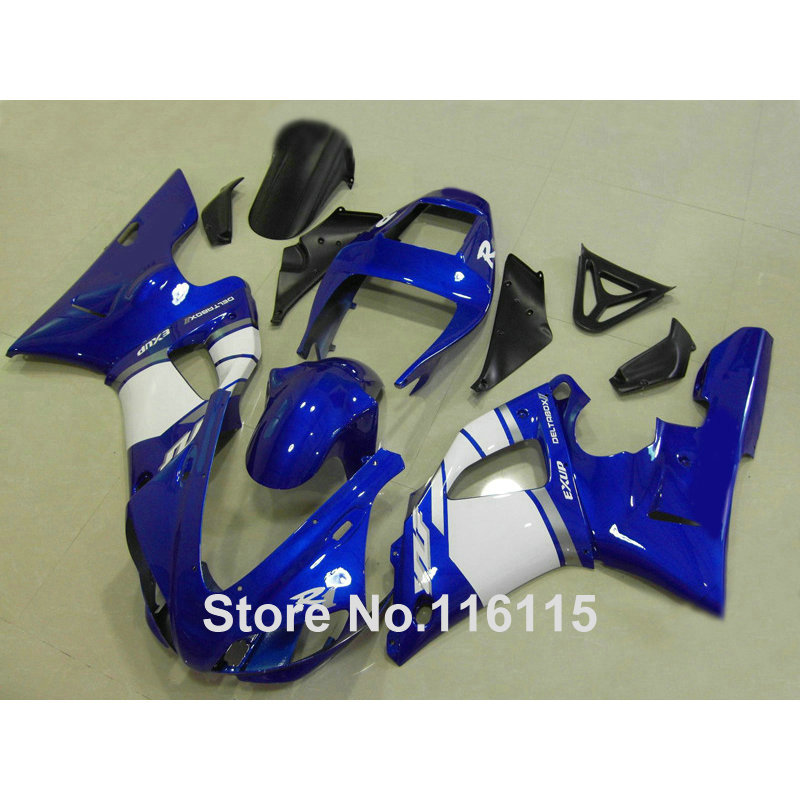Injection molding full fairing kit fit for YAMAHA R1 1998 1999 YZF R1 white blue black ABS fairings set YZF-R1 98 99 YD37 abs plastic motorcycle injection racing fairings kits for yamaha yzf r1 1998 1999 yzfr1 98 99 black west abs fairing body parts
