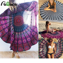 Mandala Round Beach Towel Indian Blanket Bohemian Tapestry Hippy Boho Gypsy Tablecloth Muni-functional Polyester Beach Towel