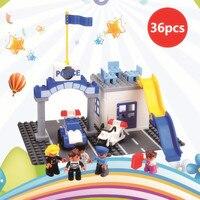 36pcs DIY Police mobilization Building Blocks Toy compatible legoe Duplooe Parts