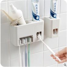 FOURETAW 1 Set Creative Automatic Plastic Lazy Toothpaste Dispenser 4 Toothbrush Holder Squeezer Bathroom Accessories
