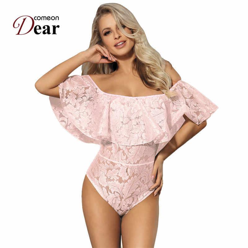 d054b1cbc65 Comeondear Body Manche Longue Femme Lace Ruffle Off Shoulder Black Pink  White Plus Size Jumpsuits And