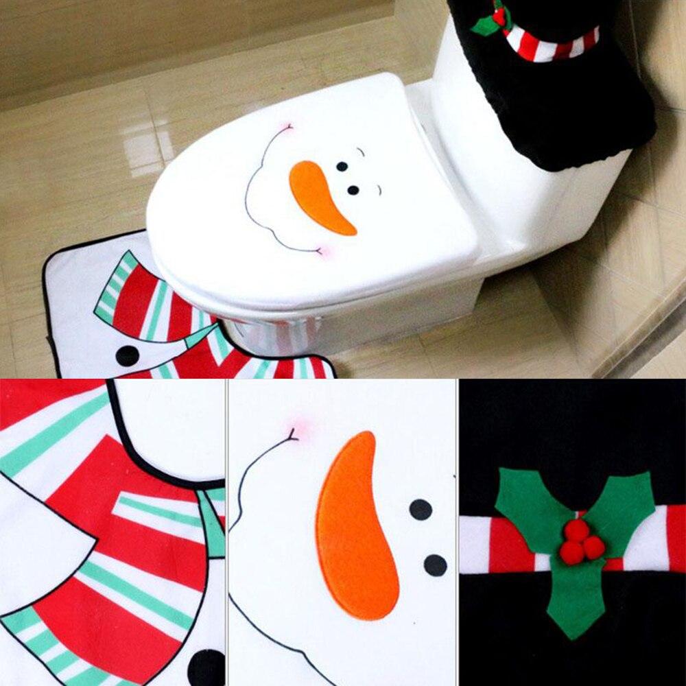 Weihnachtsschmuck Weihnachtstoilettendeckelbezug Und Bad Teppiche ...