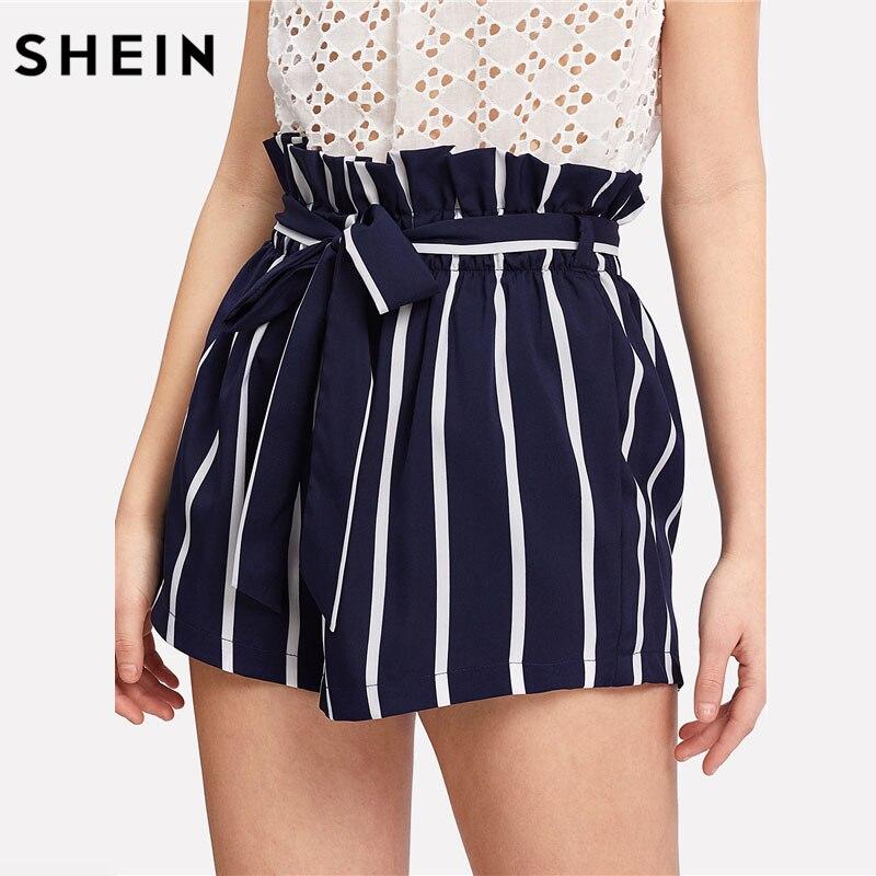 Pantalones cortos con cinturón de volantes de cintura a rayas Boho para mujer Pantalones cortos de cintura alta de la Marina 2018 pantalones cortos casuales de playa de verano