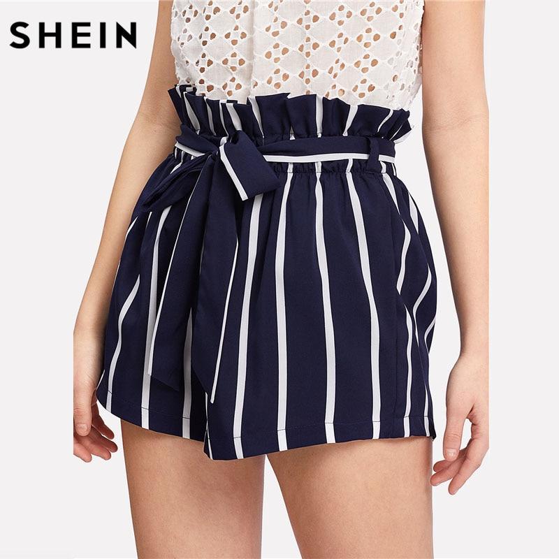 SHEIN Belted Ruffle Waist Striped Boho   Shorts   Women Navy High Waist Loose Bottom   Shorts   2018 Summer Beach Casual   Shorts