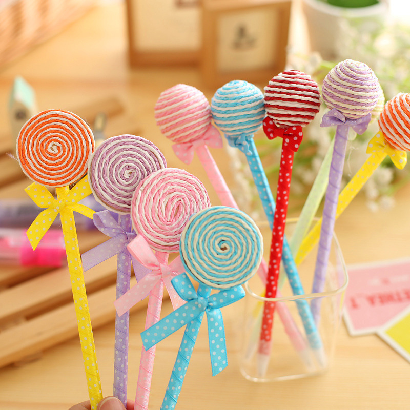 Hot 6pcs/set Novelty Plastic Kawaii Candy Color Pens Shape Ball Point Lollipop Ballpoint Pen Cute Stationery School Supplies candy gourd ice lollipop mould assorted color